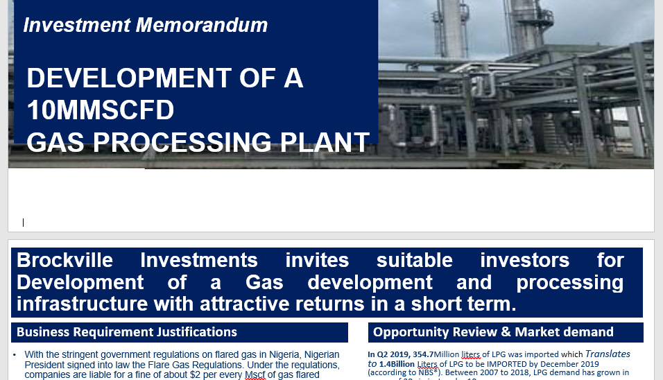 Dhaxle Commercial advisory &Investment Memorandum for gas projects